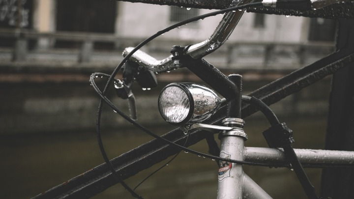 Close up of Bike light with water droplets